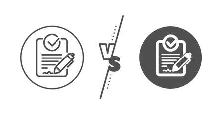 Request for proposal sign. Versus concept. Rfp line icon. Report document symbol. Line vs classic rfp icon. Vector