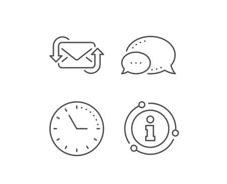 Refresh Mail line icon. Chat bubble, info sign elements. New Messages correspondence sign. E-mail symbol. Linear refresh Mail outline icon. Information bubble. Vector 일러스트