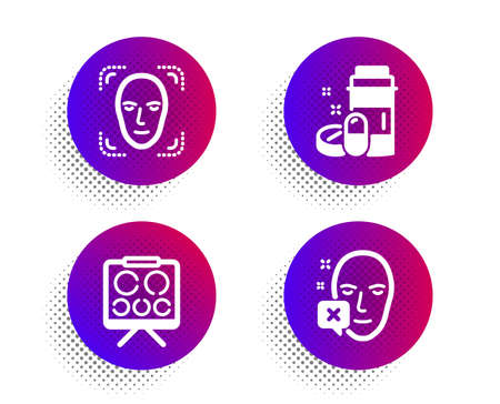 Vision board, Face detection and Medical drugs icons simple set. Halftone dots button. Face declined sign. Eye check, Detect person, Medicine bottle. Identification error. Healthcare set. Vector Illustration