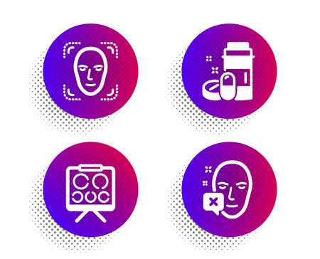 Vision board, Face detection and Medical drugs icons simple set. Halftone dots button. Face declined sign. Eye check, Detect person, Medicine bottle. Identification error. Healthcare set. Vector Ilustração