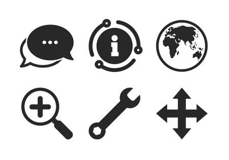 Fullscreen arrows and wrench key repair sign symbols. Chat, info sign. Magnifier glass and globe search icons. Classic style speech bubble icon. Vector