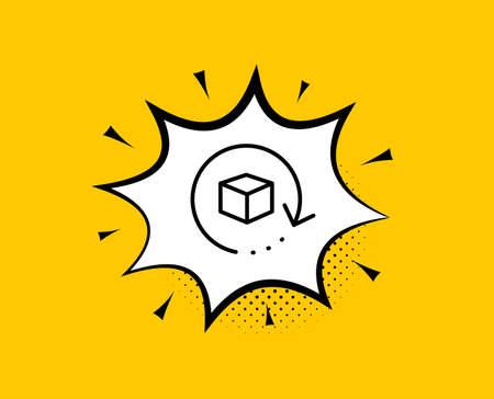 Symbol für die Paketleitung zurückgeben. Komische Sprechblase. Paketzustellungszeichen. Frachtgut-Box-Symbol. Gelber Hintergrund mit Chat-Blase. Paketsymbol zurücksenden. Bunte Fahne. Vektor Vektorgrafik