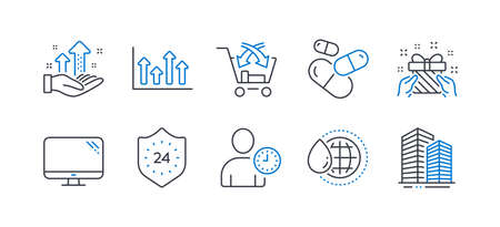 Set of Business icons, such as Time management, World water, Capsule pill, Computer, Analysis graph, 24 hours, Cross sell, Gift, Upper arrows, Skyscraper buildings line icons. Vector
