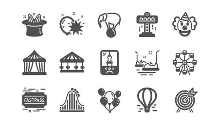 Amusement park icons. Carousel, Roller coaster and Circus. Clown classic icon set. Quality set. Vector