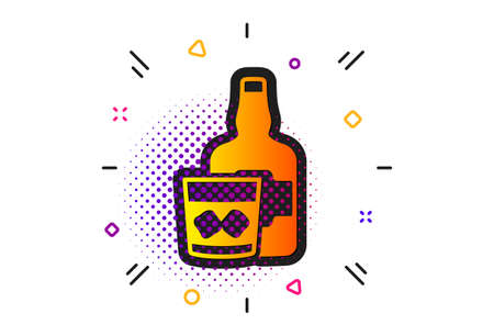 Scotch alcohol sign. Halftone circles pattern. Whiskey glass with ice cubes icon. Classic flat whiskey glass icon. Vector