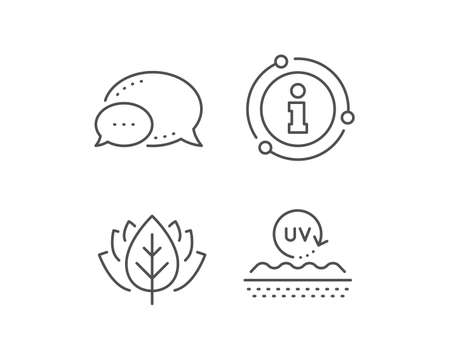 Uv protection cream line icon. Chat bubble, info sign elements. Skin care sign. Cosmetic lotion symbol. Linear uv protection outline icon. Information bubble. Vector