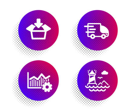 Truck delivery, Operational excellence and Get box icons simple set. Halftone dots button. Lighthouse sign. Express service, Corporate business, Send package. Navigation beacon. Industrial set. Vector