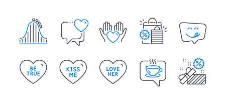 Set of Holidays icons, such as Love her, Yummy smile, Be true, Coffee, Hold heart, Kiss me, Heart, Shopping bags, Roller coaster, Sale line icons. Sweetheart, Emoticon. Line love her icon. Vector Ilustracja