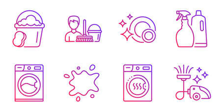 Dirty spot, Sponge and Cleaning service line icons set. Washing machine, Clean dishes and Dryer machine signs. Shampoo and spray, Vacuum cleaner symbols. Laundry service, Cleaner bucket. Vector