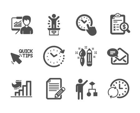 Set of Education icons, such as Time change, Accounting report, Presentation, Algorithm, Growth chart, Article, Update time, Quick tips, New mail, Winner podium, Creativity classic icons. Vector Illustration