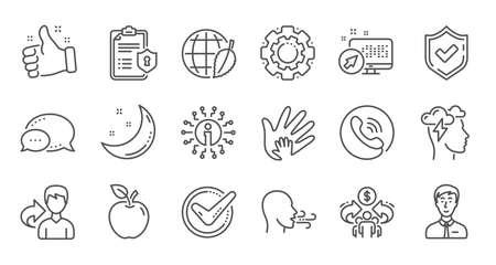 Häkchen, Sharing Economy und Mindfulness Stress Line Icons. Datenschutzrichtlinie, soziale Verantwortung. Linearer Symbolsatz. Qualitätslinie eingestellt. Vektor Vektorgrafik