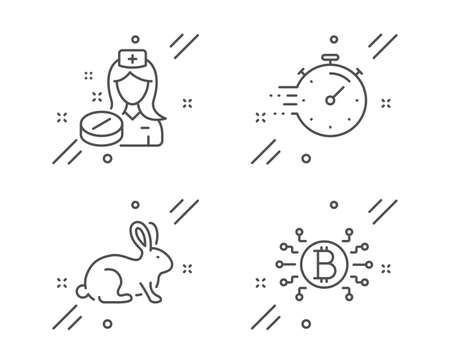 Nurse, Animal tested and Timer line icons set. Bitcoin system sign. Medicine pill, Bio product, Deadline management. Cryptocurrency scheme. Science set. Line nurse outline icon. Vector