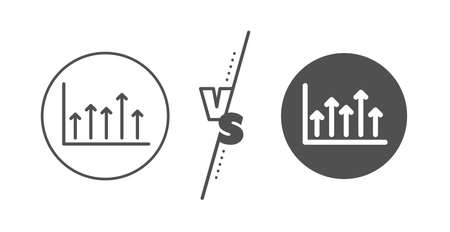 Financial graph sign. Versus concept. Growth chart line icon. Upper Arrows symbol. Business investment. Line vs classic growth chart icon. Vector