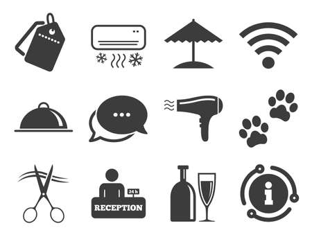 Wifi internet sign. Discount offer tag, chat, info icon. Hotel, apartment services icons. Pets allowed, alcohol and air conditioning symbols. Classic style signs set. Vector Çizim