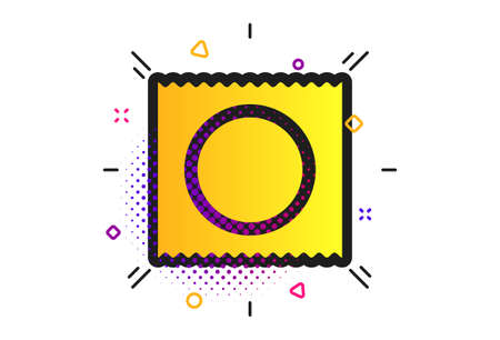 Condom in package safe sex sign icon. Halftone dots pattern. Safe love symbol. Classic flat condom icon. Vector