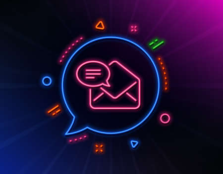 New Mail line icon. Neon laser lights. Message correspondence sign. E-mail symbol. Glow laser speech bubble. Neon lights chat bubble. Banner badge with new Mail icon. Vector