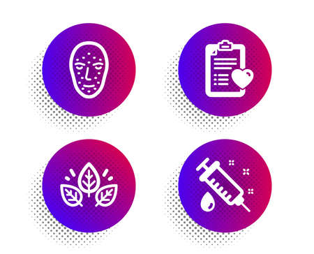 Patient history, Organic tested and Face biometrics icons simple set. Halftone dots button. Medical syringe sign. Medical survey, Bio ingredients, Facial recognition. Vaccination. Vector Çizim