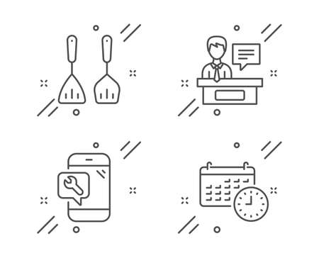 Cooking cutlery, Phone repair and Exhibitors line icons set. Calendar sign. Kitchen accessories, Spanner service, Information desk. Time. Business set. Line cooking cutlery outline icon. Vector Stock Illustratie