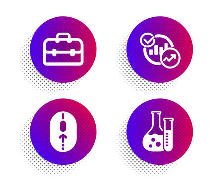 Portfolio, Statistics and Swipe up icons simple set. Halftone dots button. Chemistry lab sign. Business case, Report charts, Scrolling page. Laboratory. Science set. Vector