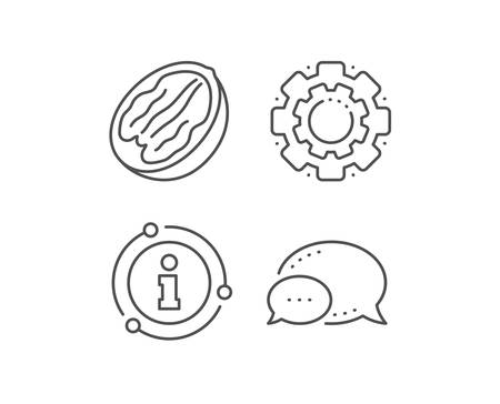 Pecan nut line icon. Chat bubble, info sign elements. Tasty nuts sign. Vegan food symbol. Linear pecan nut outline icon. Information bubble. Vector