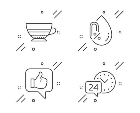 Like, Mocha and No alcohol line icons set. 24h service sign. Thumbs up, Coffee cup, Mineral oil. Call support. Line like outline icon. Vector
