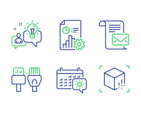 Report, Mail letter and Idea line icons set. Computer cables, Travel calendar and Augmented reality signs. Presentation document, Read e-mail, Solution. Rj45 internet. Business set. Vector