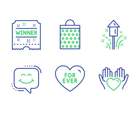 Winner ticket, For ever and Smile chat line icons set. Fireworks, Shopping bag and Hold heart signs. Carousels award, Love sweetheart, Happy face. Christmas pyrotechnic. Holidays set. Vector Archivio Fotografico - 127386235