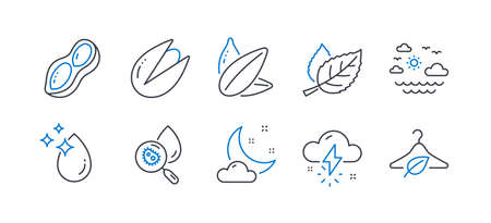 Set of Nature icons, such as Water drop, Water analysis, Thunderstorm weather, Pistachio nut, Sunflower seed, Leaf, Night weather, Travel sea, Peanut, Slow fashion line icons. Vector