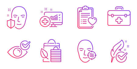 Check eye, Patient history and Medical analytics line icons set. Problem skin, Bio shopping and Face protection signs. First aid, Hypoallergenic tested symbols. Vision, Medical survey. Vector