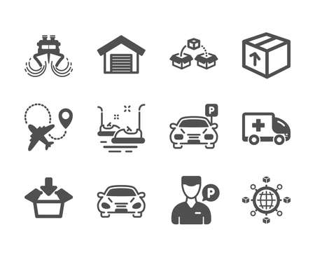 Set of Transportation icons, such as Parcel shipping, Car, Bumper cars, Airplane, Ship, Logistics network, Package, Get box, Parking garage, Valet servant, Ambulance emergency, Parking. Vector