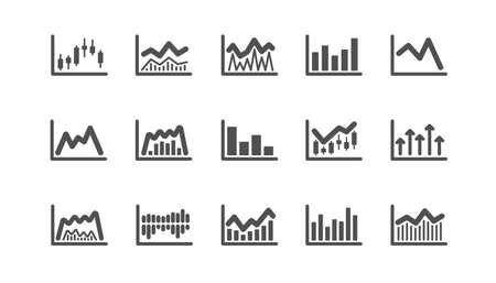 Graphiques et icônes graphiques. Graphique en chandelier, graphique d'information et diagramme de rapport. Jeu d'icônes classique de présentation. Ensemble de qualité. Vecteur