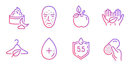 Eco food, Slow fashion and Face biometrics line icons set. Ph neutral, Fair trade and Night cream signs. Oil serum, Capsule pill symbols. Organic tested, Eco tested. Healthcare set. Vector