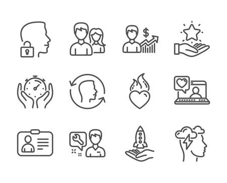 Set of People icons, such as Face id, Timer, Business growth, Id card, Loyalty program, Friends chat, Teamwork, Mindfulness stress, Unlock system, Crowdfunding, Repairman, Heart flame. Vector