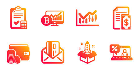 Financial diagram, Payment method and Credit card line icons set. Accounting checklist, Bitcoin chart and Payment signs. Startup, Online loan symbols. Candlestick chart, Wallet with coins. Vector 일러스트