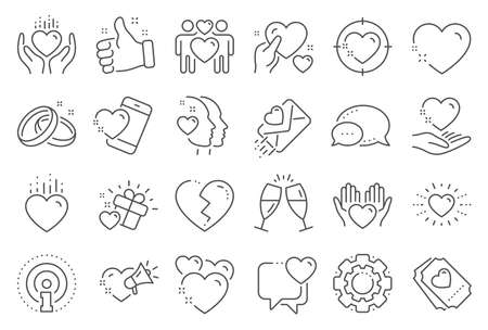 Love line icons. Gift box, Broken heart and Romantic letter. Wedding rings, glasses with champagne, love heart icons. Happy couple, heart holding, romantic loudspeaker. Line signs set. Vector Vectores