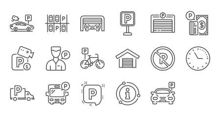 Parking line icons. Garage, Valet servant and Paid parking. Car transport park place linear icon set. Quality line set. Vector