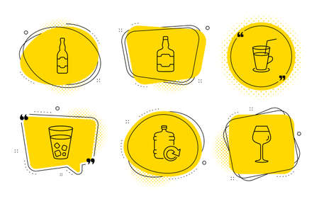 Whiskey bottle, Ice tea and Bordeaux glass signs. Chat bubbles. Beer bottle, Refill water and Cocktail line icons set. Craft beer, Fresh beverage, Scotch alcohol. Soda beverage. Vector
