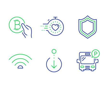 Bitcoin pay, Scroll down and Security line icons set. Timer, Wifi and Bus parking signs. Cryptocurrency coin, Swipe screen, Protection shield. Deadline management. Technology set. Vector