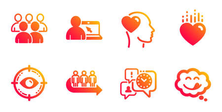 Online education, Eye target and Time management line icons set. Heart, Queue and Friend signs. Group, Yummy smile symbols. Internet lectures, Optometry. People set. Vector