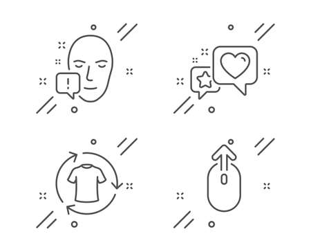 Face attention, Heart and Change clothes line icons set. Swipe up sign. Exclamation mark, Star rating, Shirt. Scrolling page. Business set. Line face attention outline icon. Vector