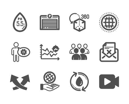 Set of Technology icons, such as Reject letter, Cogwheel, Safe planet, Ph neutral, Intersection arrows, Parking garage, Video camera, Seo analysis, Globe, Augmented reality, Refill water. Vector