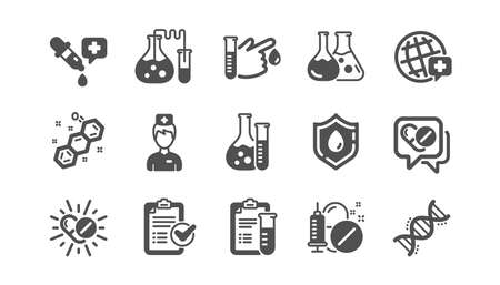 Medical healthcare, doctor icons. Drug testing, scientific discovery and disease prevention icons. Chemical formula, chemistry testing lab. Classic set. Quality set. Vector Illustration