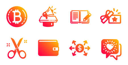 Feedback, Scissors and Megaphone line icons set. Money wallet, Loyalty gift and Bitcoin signs. Dollar exchange, Friends chat symbols. Book with pencil, Cutting tool. Business set. Vector