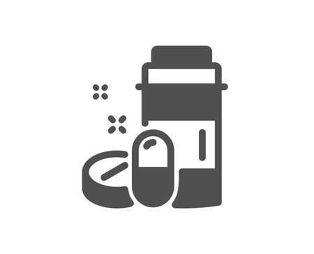 Medicine pills sign. Medical drugs bottle icon. Pharmacy medication symbol. Classic flat style. Simple medical drugs icon. Vector