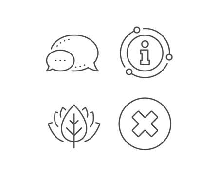 Delete line icon. Chat bubble, info sign elements. Remove sign. Cancel or Close symbol. Linear close button outline icon. Information bubble. Vector Ilustrace