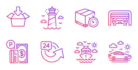 Delivery timer, Parking payment and Ship travel line icons set. Lighthouse, 24 hours and Parking garage signs. Get box, Car travel symbols. Express logistics, Paid garage. Transportation set. Vector Stock Vector - 127878847