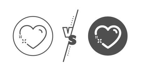 Love emotion sign. Versus concept. Heart line icon. Valentine day symbol. Line vs classic heart icon. Vector