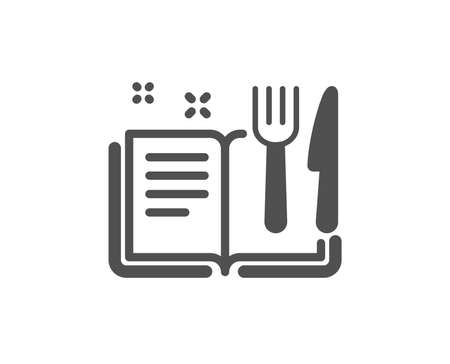 Cutlery sign. Recipe book icon. Fork, knife symbol. Classic flat style. Simple recipe book icon. Vector