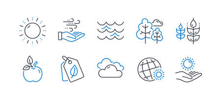 Set of Nature icons, such as World weather, Wind energy, Waves, Sun energy, Tree, Cloudy weather, Gluten free, Eco food, Bio tags, Sun protection line icons. Sunny, Breeze power. Vector