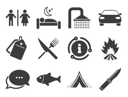 Camping, shower and wc toilet signs. Discount offer tag, chat, info icon. Hiking travel icons. Tourist tent, fork and knife symbols. Classic style signs set. Vector Ilustração
